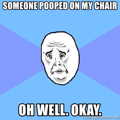 Okay Guy - someone pooped on my chair oh well. okay.