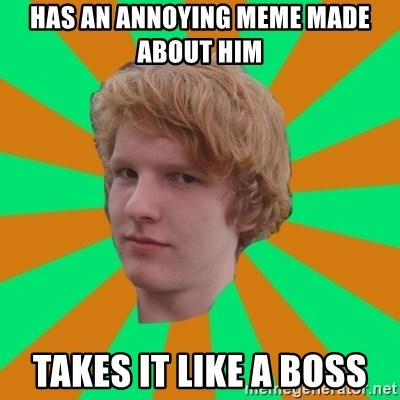 Scott Leslie - has an annoying meme made about him takes it like a boss