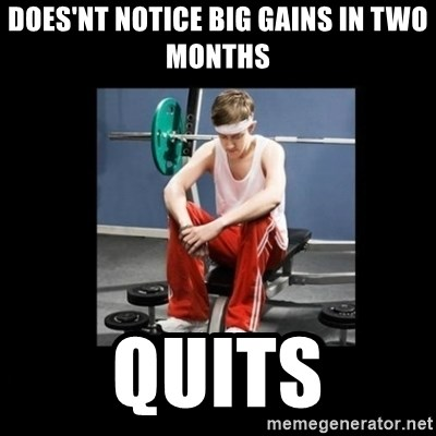 Annoying Gym Newbie - Does'nt Notice Big Gains in two months Quits