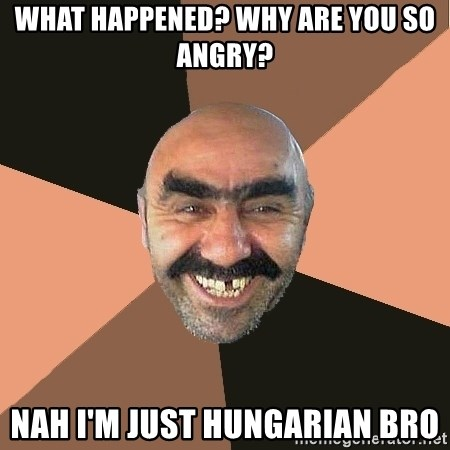 what happened why are you so angry nah im just hungarian bro what happened? why are you so angry? nah i'm just hungarian bro
