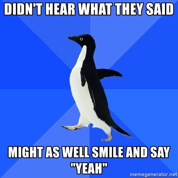 """Socially Awkward Penguin - Didn't hear what they said might as well smile and say """"yeah"""""""