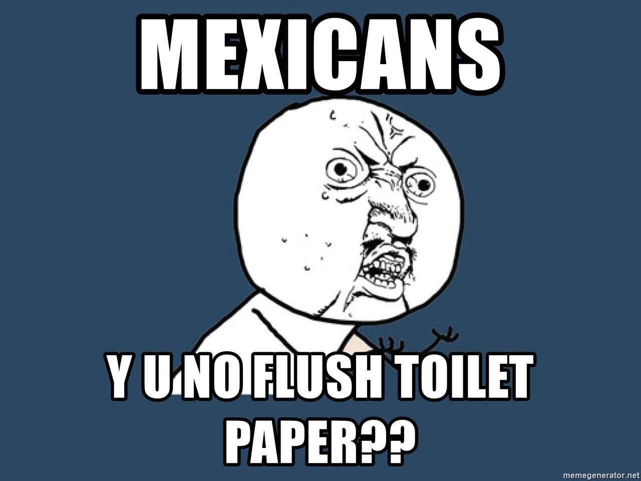 Y U No - mexicans y u no flush toilet paper??