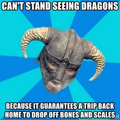 skyrim stan - Can't stand seeing dragons Because it guarantees a trip back home to drop off bones and scales