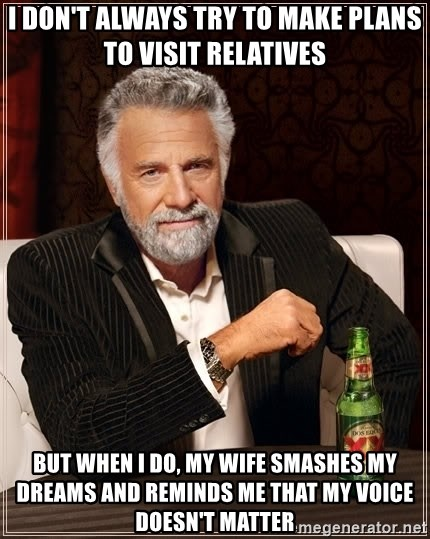 The Most Interesting Man In The World - I don't always try to make plans to visit relatives but when i do, my wife smashes my dreams and reminds me that my voice doesn't matter