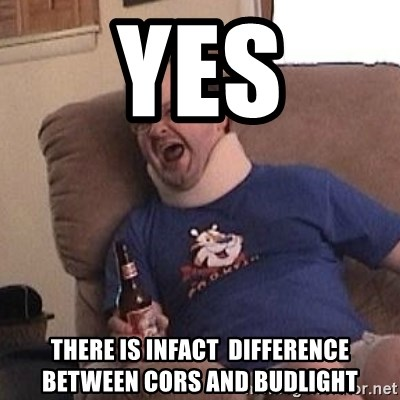 Fuming tourettes guy - yes there is infact  difference between cors and budlight