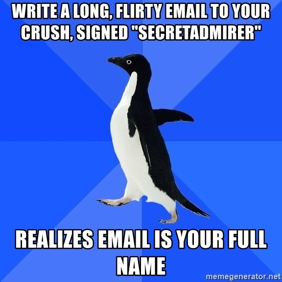 "Socially Awkward Penguin - Write a long, flirty email to your crush, signed ""secretadmirer"" realizes email is your full name"