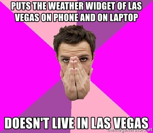 PutS the weather widget of Las Vegas ON phone and on laptop