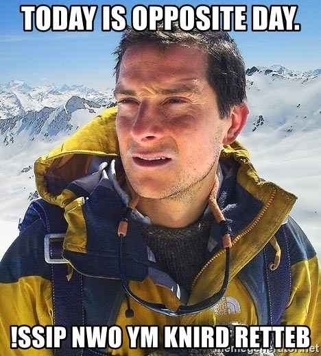 Bear Grylls - Today is opposite day. !ssip nwo ym knird retteb
