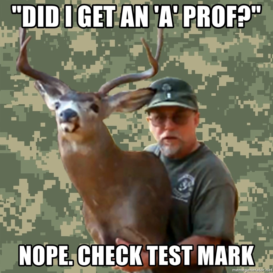 "Chuck Testa Nope - ""Did I get an 'A' prof?"" nope. Check test mark"