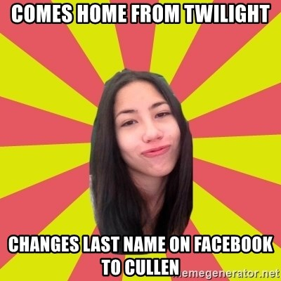Just Johanna - comes home from twilight changes last name on facebook to cullen