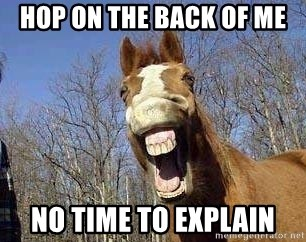 Horse - hop on the back of me no time to explain