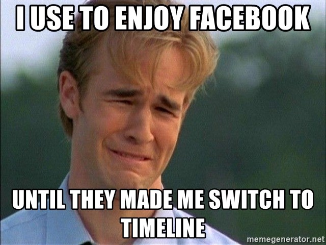 Crying Man - I use to enjoy facebook until they made me switch to timeline