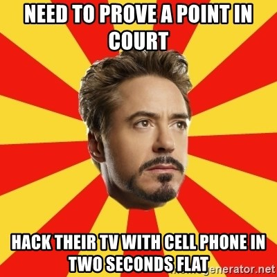 need to prove a point in court hack their tv with cell phone in two