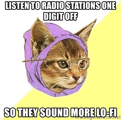 Hipster Kitty - listen to radio stations one digit off so they sound more lo-fi