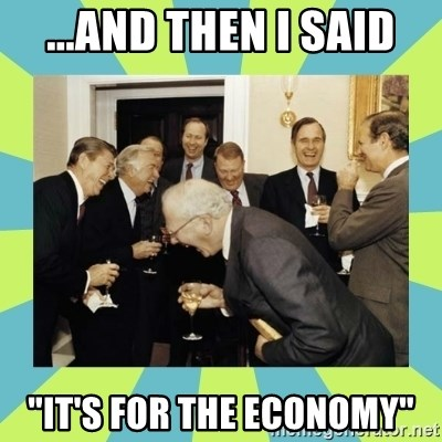 """reagan white house laughing - ...and then i said """"it's for the economy"""""""