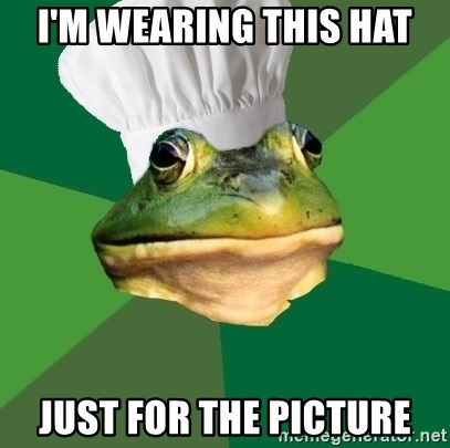 Foul Bachelor Frog - i'm wearing this hat just for the picture