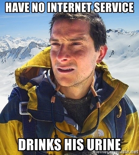 Bear Grylls Loneliness - have no internet service drinks his urine
