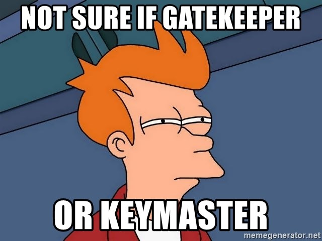 Futurama Fry - Not sure if gatekeeper Or keymaster