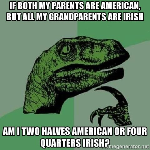 Philosoraptor - if both my parents are american, but all my grandparents are irish am i two halves american or four quarters irish?