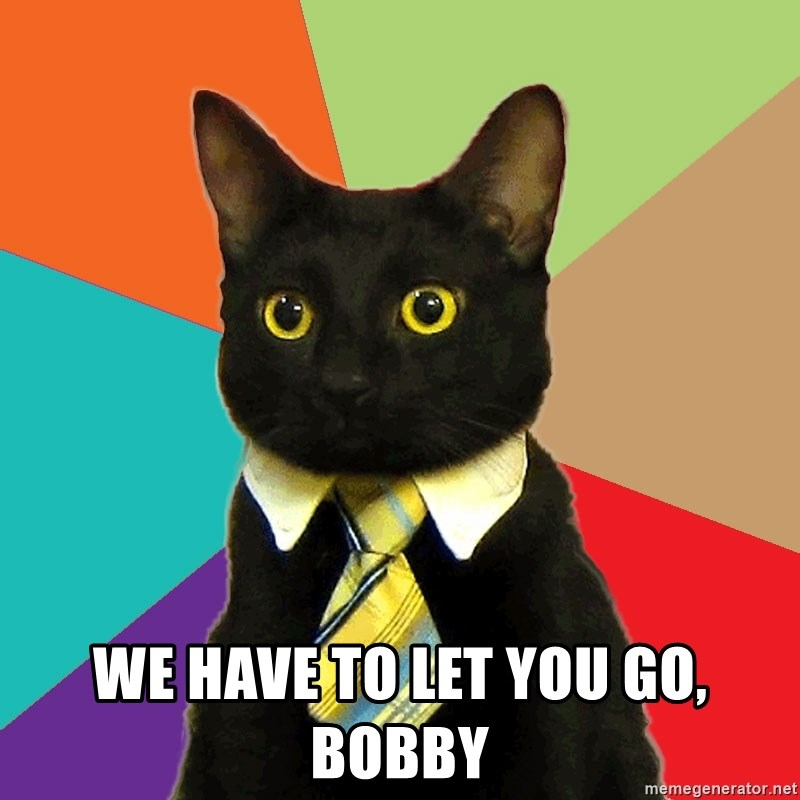 Business Cat - we have to let you go, bobby
