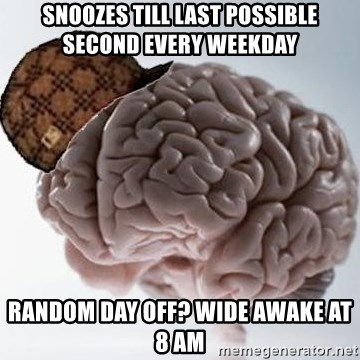 Scumbag Brain - snoozes till last possible second every weekday random day off? wide awake at 8 am