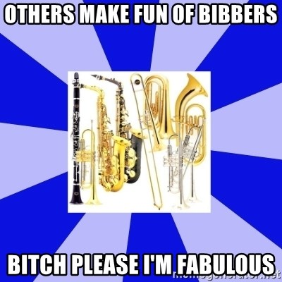 Things Never Heard In Band - Others make fun of bibbers bitch please I'm fabulous