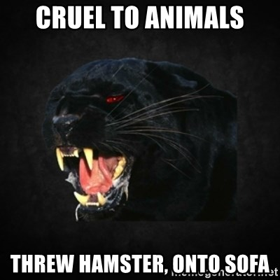 Roleplay Panther - cruel to animals threw hamster, onto sofa