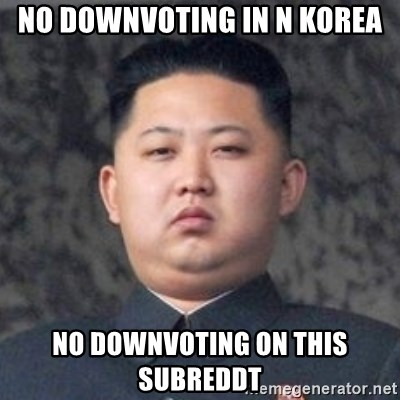 Kim Jong-Fun - no downvoting in n korea No downvoting on this subreddt