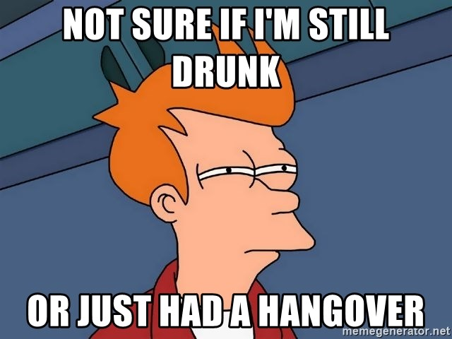 Futurama Fry - Not sure if i'm still drunk or just had a hangover