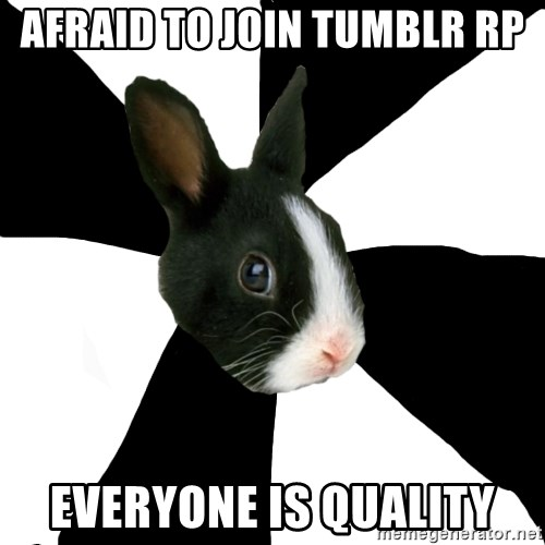 Roleplaying Rabbit - afraid to join tumblr rp everyone is quality
