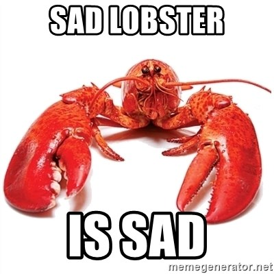 Unable to Relax and Have Fun Lobster - Sad Lobster is sad