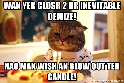 Birthday Cat - WAN YER CLOSR 2 UR INEVITABLE DEMIZE! NAO MAK WISH AN BLOW OUT TEH CANDLE!
