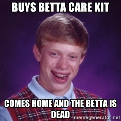 Bad Luck Brian - buys betta care kit comes home and the betta is dead