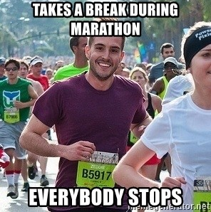 Ridiculously photogenic guy (Zeddie) - takes a break during marathon everybody stops