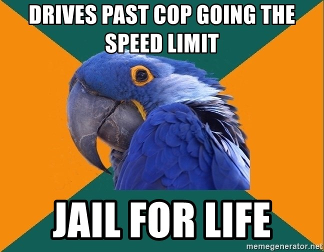 Paranoid Parrot - Drives past cop going the speed limit Jail for life