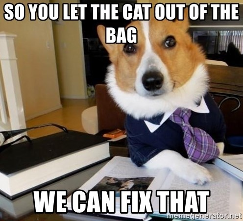 Dog Lawyer - So you let the cat out of the bag we can fix that