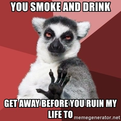 Chill Out Lemur - you smoke and drink get away before you ruin my life to