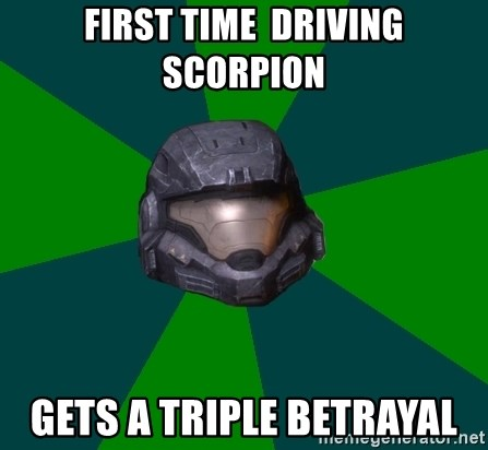 Halo Reach - First time  Driving Scorpion Gets a Triple betrayal