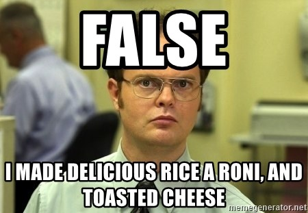 Dwight Schrute - false I made delicious rice a roni, and toasted cheese