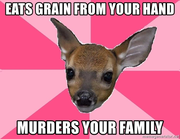 Unnecessary Violence Deer - eATS GRAIN FROM YOUR HAND MURDERS YOUR FAMILY