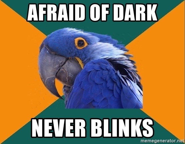 Paranoid Parrot - afraid of dark never blinks