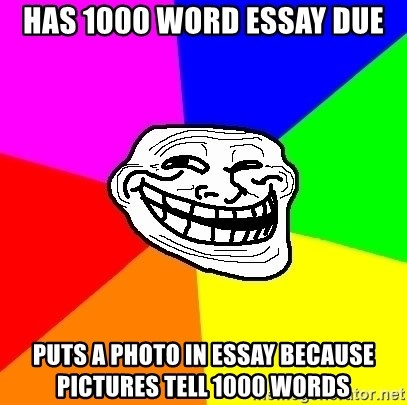 has word essay due puts a photo in essay because pictures  has 1000 word essay due puts a photo in essay because pictures tell 1000 words trollface meme generator