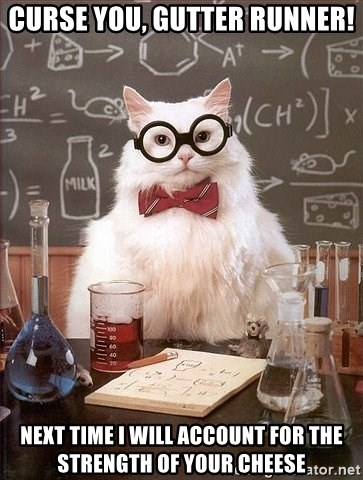 Chemistry Cat - curse you, gutter runner! NEXT TIME I WILL ACCOUNT FOR THE STRENGTH OF YOUR CHEESE