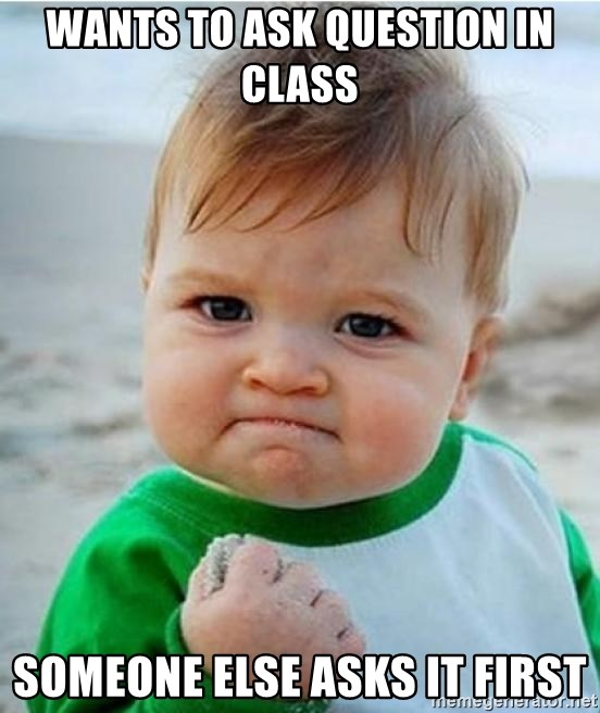 victory kid - Wants to ask question in class Someone else asks it first