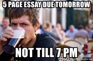 The Lazy College Senior - 5 page essay Due Tomorrow Not till 7 pm