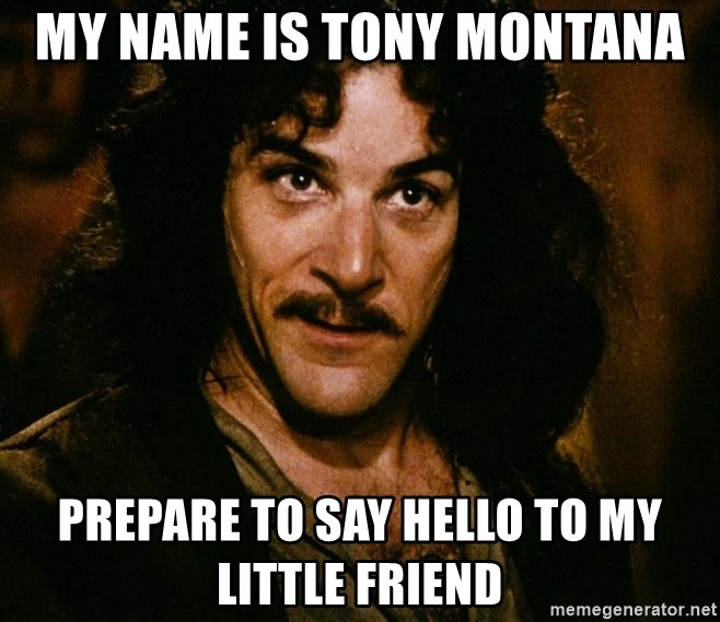 My Name Is Tony Montana Prepare To Say Hello To My Little Friend