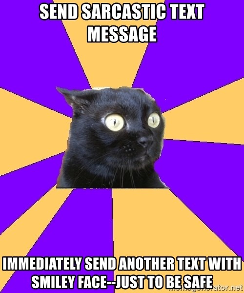 Anxiety Cat - send sarcastic text message immediately send another text with smiley face--just to be safe