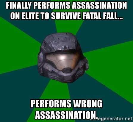 Halo Reach - FINALLY PERFORMS ASSASSINATION ON ELITE TO SURVIVE FATAL FALL... Performs WRONG ASSASSINATION.