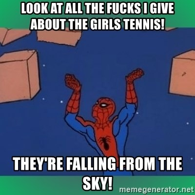 60's spiderman - look at all the fucks i give about the girls tennis! they're falling from the sky!