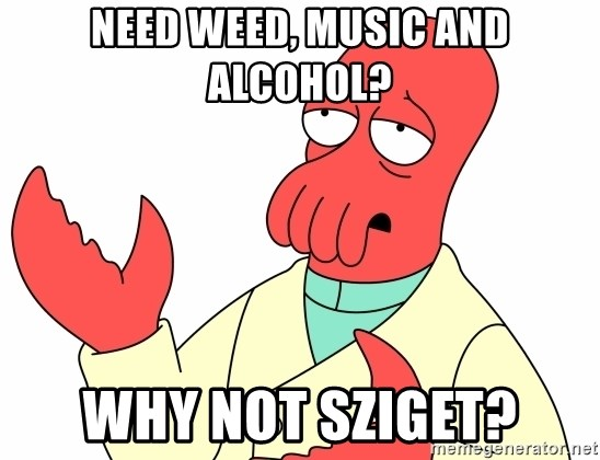 Why not zoidberg? - Need weed, music and alcohol? why not sziget?